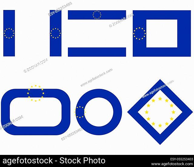 Fahnen der Europäischen Union mit Textfreiraum - Flags of the European Union with copy space