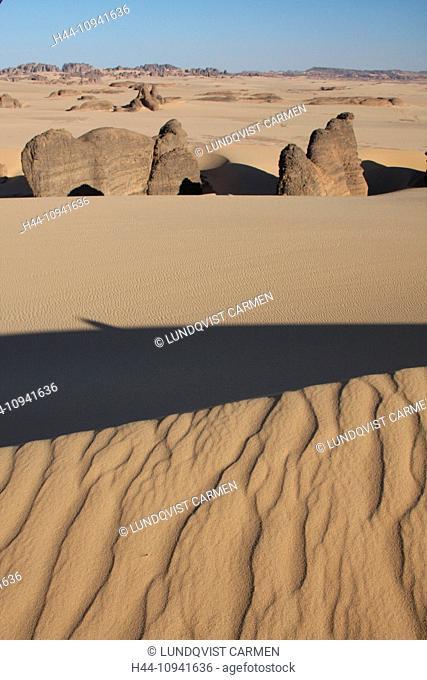 Algeria, Africa, north Africa, desert, sand desert, Sahara, Tamanrasset, Hoggar, Ahaggar, rock, rock formation, Tassili du Hoggar, sand, sand dune, nature