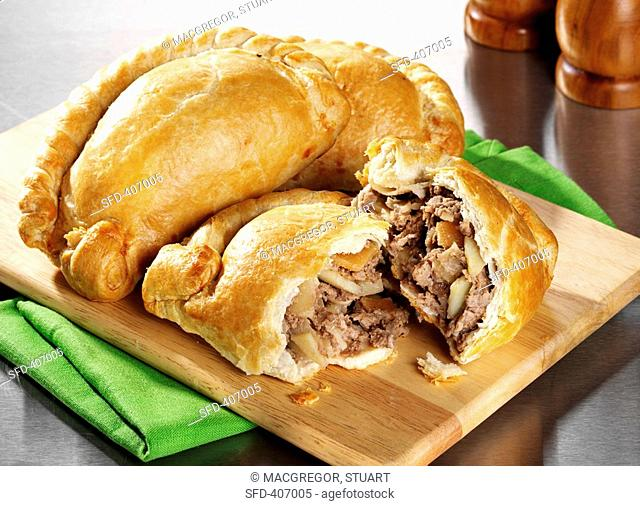 Cornish pasties England on a wooden board