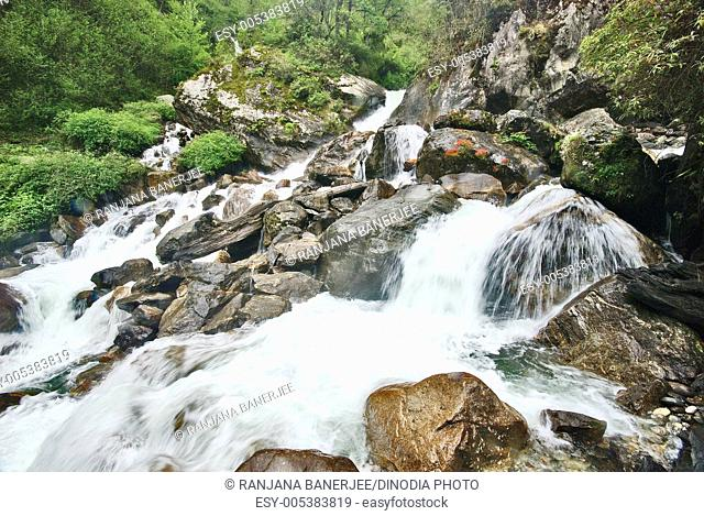 Twin waterfall ; Chungthang ; North Sikkim ; India