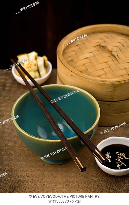 Empty Bowl for Rice with steamer and soy