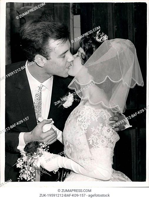 Dec. 12, 1959 - Marty Wilde weds at Greenwich A Kiss for the Bride. The wedding of Rock n Roll singer Marty Wilde and Joyce Baker of the singing Vernon Girls...