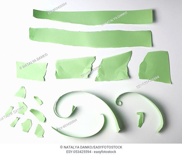 various torn strips of green paper on a white background, flat lay
