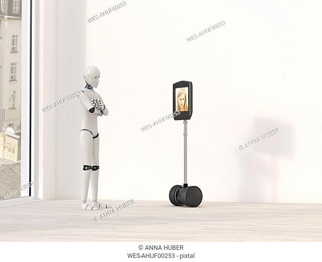 Robot at video conference, 3D Rendering