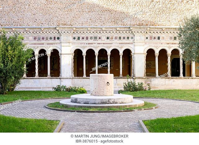 Fountain with Lombard friezes, 9th century, cloister of the Archbasilica of St. John Lateran, Lateran, Vatican, Rome, Lazio, Italy