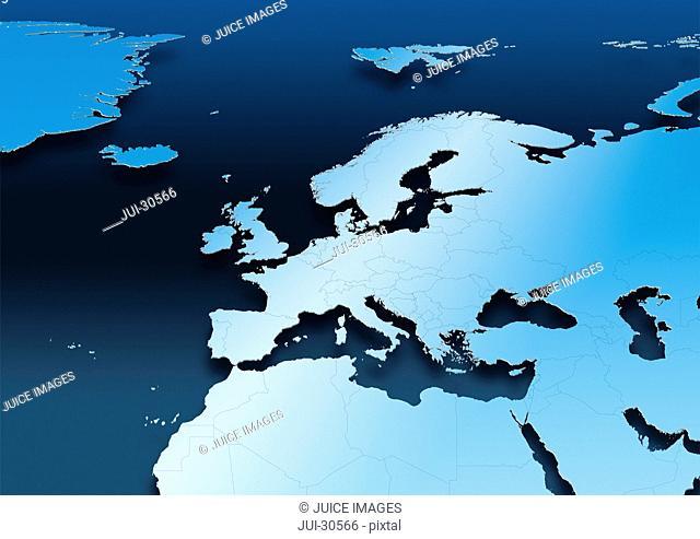 map, Western Europe, blue, political