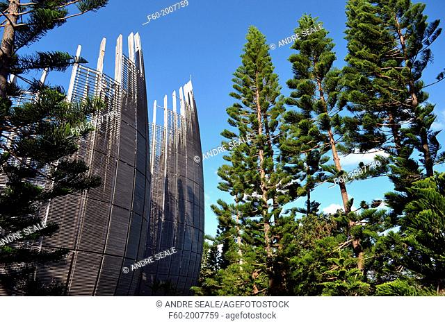 Modern architecture of Jean-Marie Tjibaou Cultural Centre, designed by Renzo Piano and specialized in Kanak culture, Noumea, New Caledonia