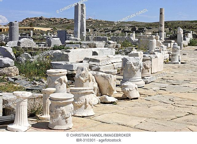 Basements of altars and parts of columns on Agora of the Competaliasts, Delos, Greece