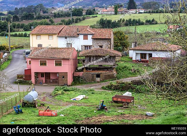 Guerres village in Colunga municipality, autonomous community of Asturias in northern Spain