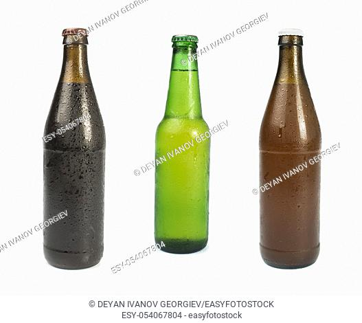 Set of Beer bottles isolated studio shot. Green and brown bottles