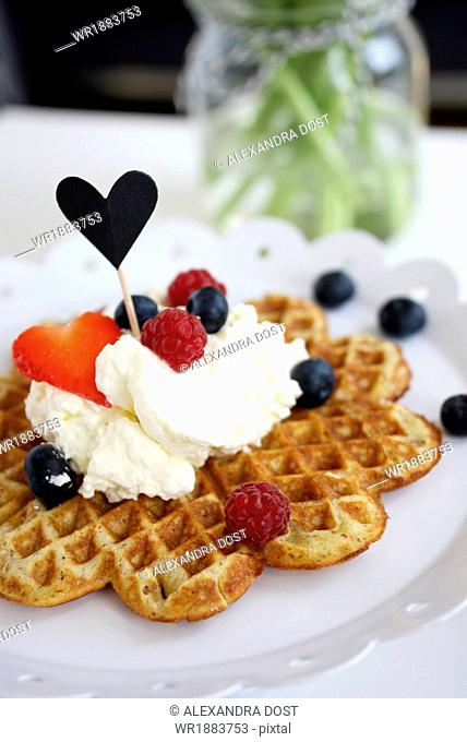 Fresh Waffle With Berries, Munich, Bavaria, Germany, Europe