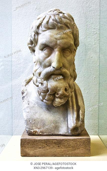 Roman marble bust of Epicurus, Epicur, ancient Greek philosopher, Pergamon Museum, Museum Island, Berlin, Germany, Europe