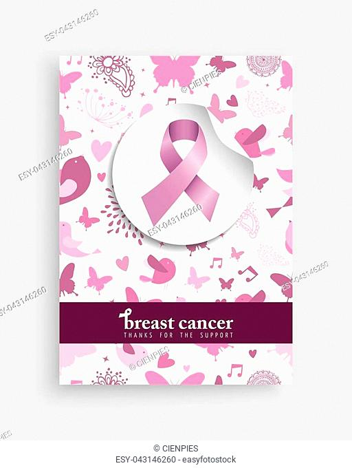 Breast cancer awareness month illustration with pink ribbon bow and cute nature decoration background for support campaign. EPS10 vector