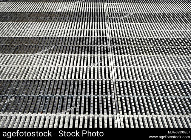 Europe, Belgium, Brussels, Europaviertel, grating, black-white, striped, full surface
