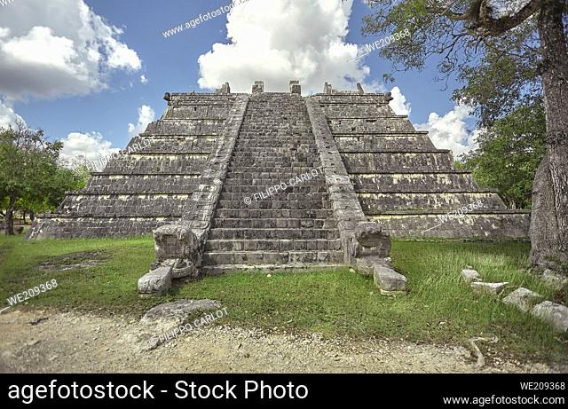Front view of one pyramid of the Chichen Itza archaeological complex in Mexico