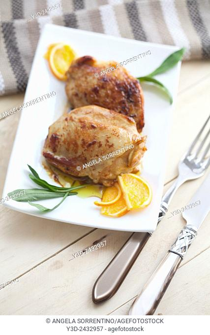 Roasted Chicken cooked with orange juice