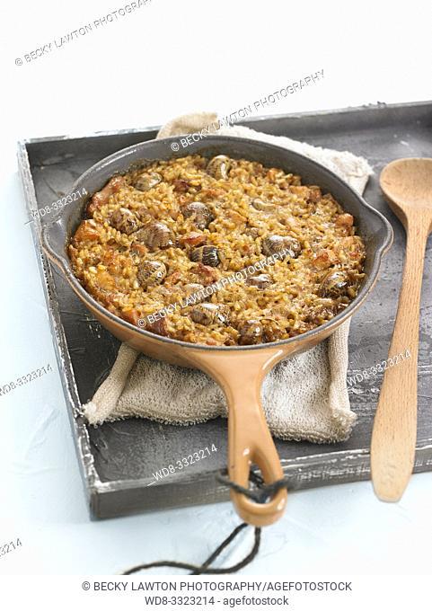 arroz al horno con conejo y caracoles