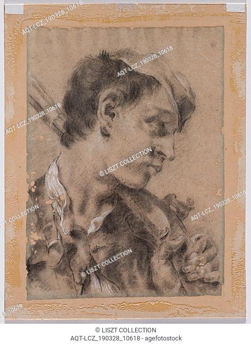 Head of a Young Man in Profile with a Gun over His Shoulder, c. 1730/40s. Giovanni Battista Piazzetta (Italian, 1682-1754)