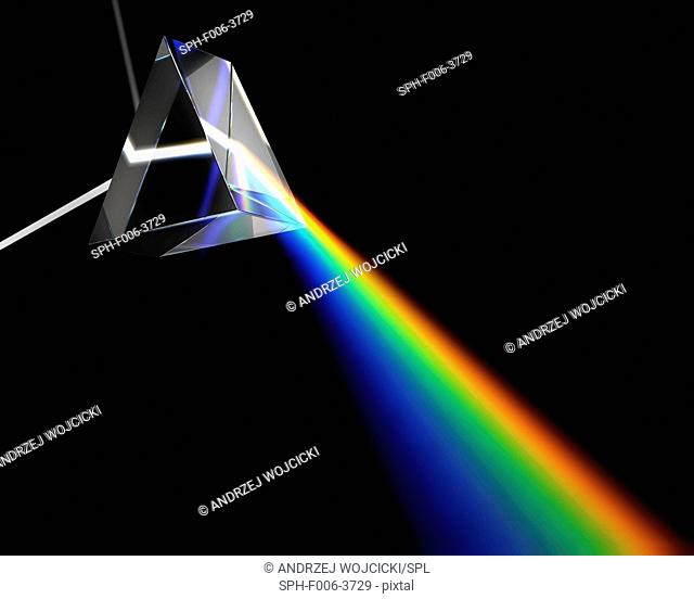 Prism dispersing white light, computer artwork
