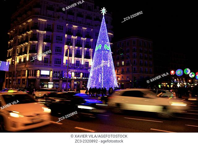 Christmas tree, funded by movistar, brand mobile operator Telefonica Moviles, specializing in mobile telecommunications, Noel