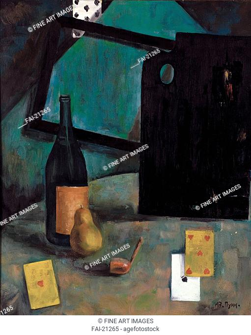 Still Life with Cards. Puni (Pougny), Ivan Albertovich (1894-1956). Oil on cardboard. Cubism. 1920s. Russia. Private Collection. 74,9x59,7. Still Life