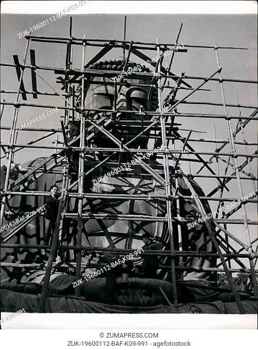 1955 - Spring Cleaning A 700-Year-Old Buddha. The 'Amida Buddha' Inspired A Kipling Poem Is 36 Feet High The towering bronze statue of Amida Buddha (Lord of...