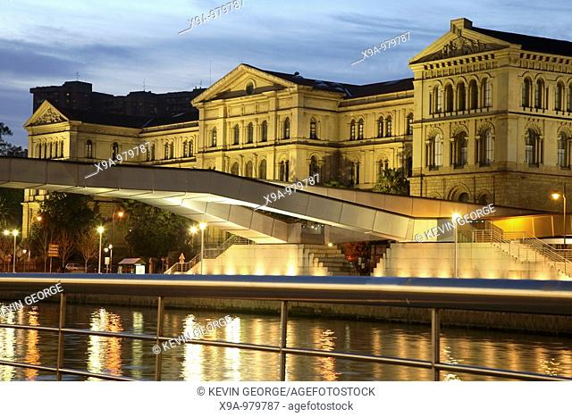 Deusto University with Pedro Arrupe Bridge, Bilbao, Basque Country, Spain