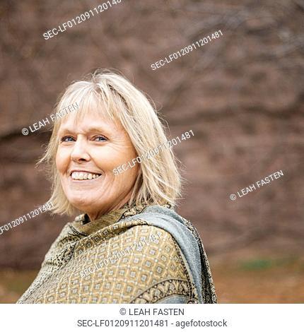Portrait of senior woman in shawl