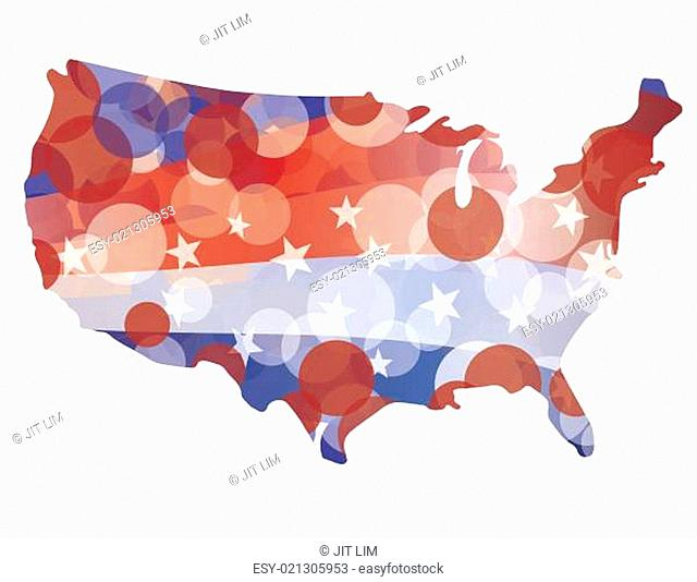 USA Map with Red White Blue Circle Pattern