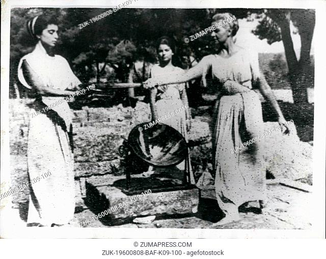 Aug. 08, 1960 - The Olympic Torch is on its way. Greek Girls as Ancient Priestesses: The Olympic flame was rekindled at Olympica