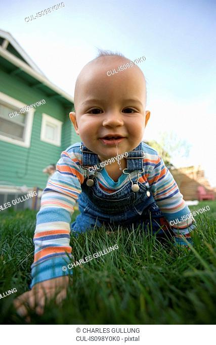Baby boy crawling in garden