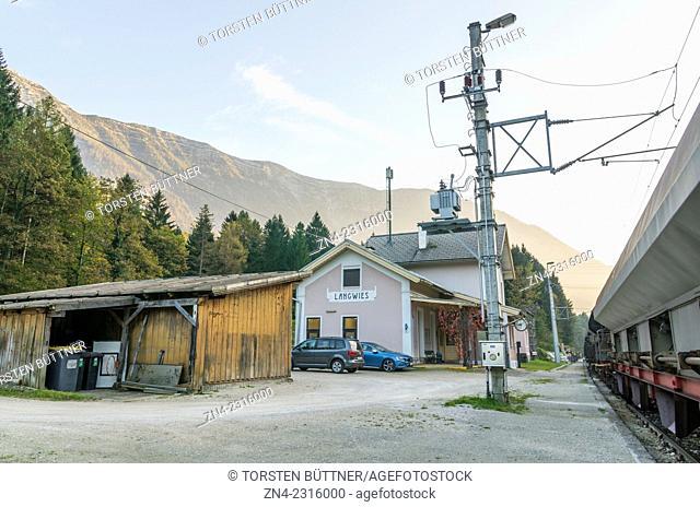 Langwies Train Station with Hohe Schrott Mountain in the Background. Salzkammergut Resort Area. Austria