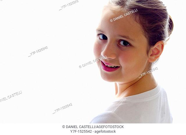 Brown haired girl smiling