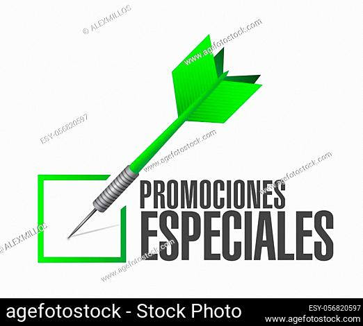 special promotions in Spanish check dart sign concept illustration design graphic