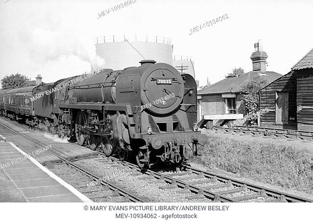 The Torbay Express steam train, which ran from London Paddington to the West Country, drawn by locomotive 70035, the Rudyard Kipling