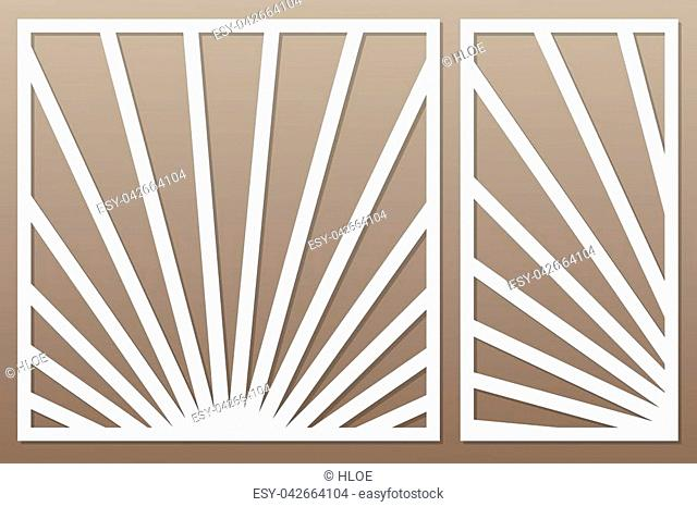 Template for cutting. Geometric lines pattern. Laser cut. Set ratio 1:1, 1:2. Vector illustration