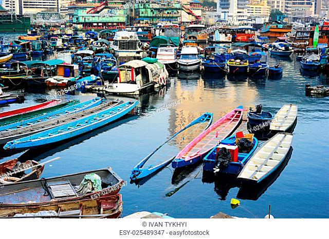 Aberdeen - famous to tourists destinaton for its floating village and floating seafood restaurants. Hong Kong