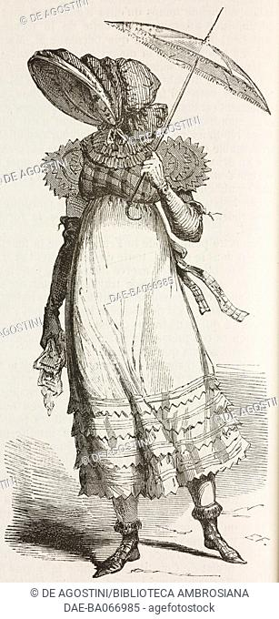 Woman wearing a percale hat and puff-sleeved dress with tartan bodice, percale umbrella, 1810, history of fashion, France, illustration from L'Illustration