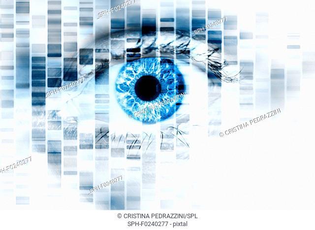 Human eye and DNA, conceptual image