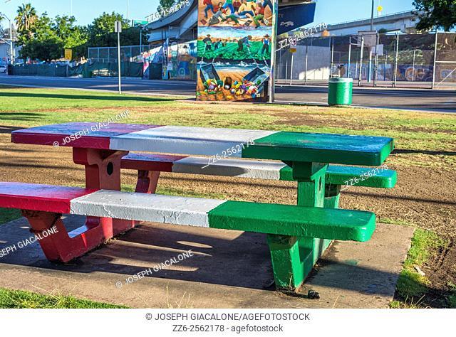 bench, flag of mexico colors, Chicano Park, urban, Barrio Logan. San Diego, California, United States