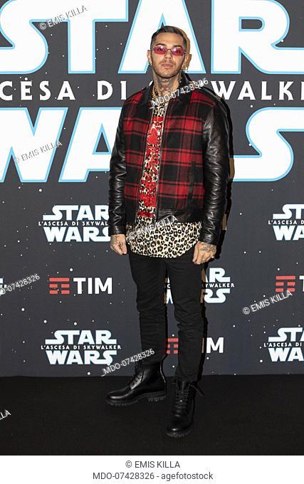 Italian rapper Emis Killa, pseudonym of Emiliano Rudolf Giambelli, during the premiere of the film Star Wars The rise of Skywalker