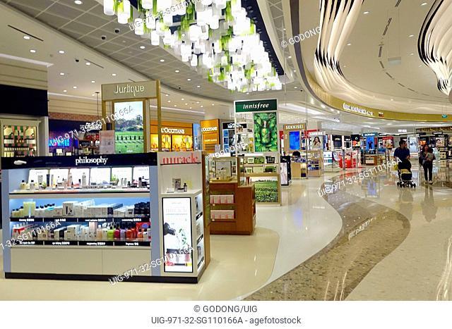 Changi airport. Duty free shop. Cosmetics. Singapore