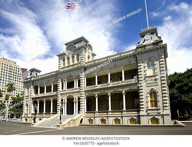 Iolani Palace historic royal residence Honolulu city center Hawaii USA