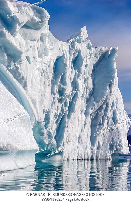 Icebergs drifting in Scoresbysund, Sermersooq Municipality, Greenland