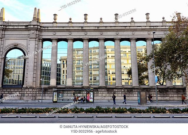 Fira de Barcelona building seen from Avinguda del Paral·lel - Avenue of the Parallel, Fira de Barcelona is one of the most important trade fair institutions in...