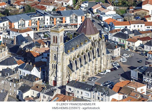 France, Vendee, Aizenay, the church (aerial view)