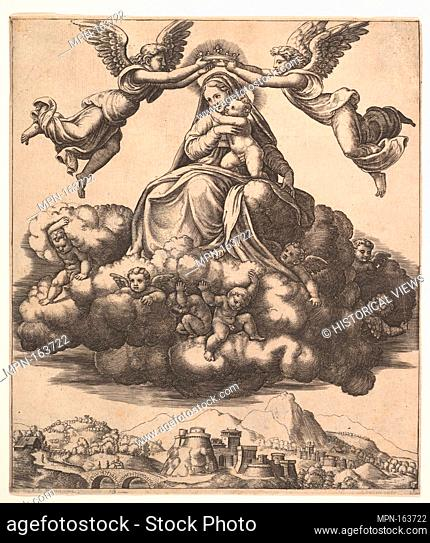 The Virgin seated on clouds being crowned by angels. Artist: Master of the Die (Italian, active Rome, ca. 1530-60); Artist: After Raphael (Raffaello Sanzio or...