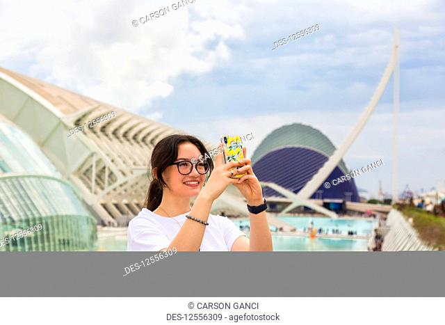 Young female tourist at City of Arts and Sciences; Valencia, Spain
