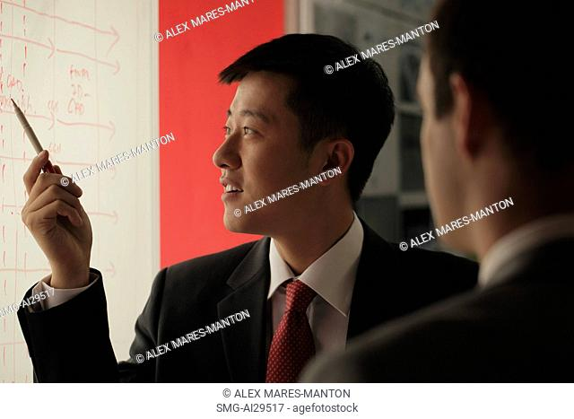 Young man giving a presentation