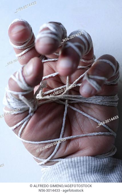 hand tied with a cord